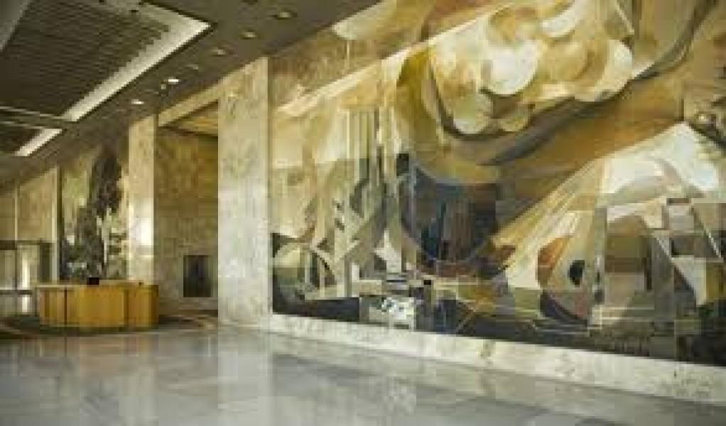 Công trình tranh tường chất liệu đá xuyên sáng onyx mẫu đá 009