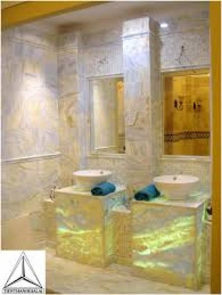 công trình đá ốp lát xuyên sáng onyx ốp tường mẫu đá 012