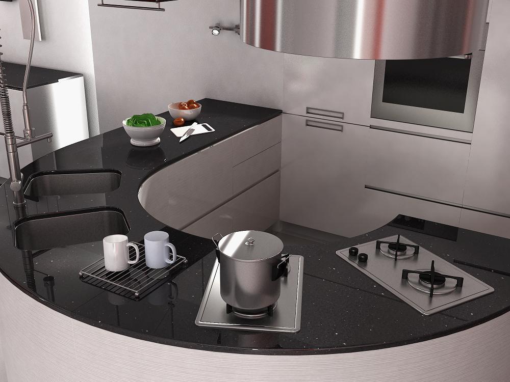đá ốp bàn bếp chất liệu đá hoa cương kim sa đen